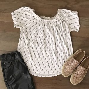 LOFT Black and White Print Shirt